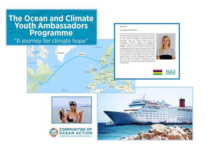 Eve Isambourg ambassadrice sur le Peace Boat Ecoship pour représenter l'ile maurice