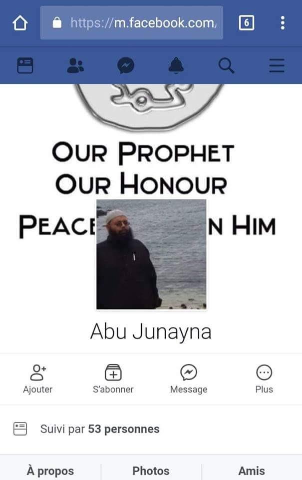 Javed Meetoo sur les réseaux sociaux à plusieurs profils : Javed Abu Junayna qui à partir du 2 juin 2018 est inactif. Abu Junayna où il continue sa campagne de propagande contre l'Etat mauricien entre prêches et publications provocantes.