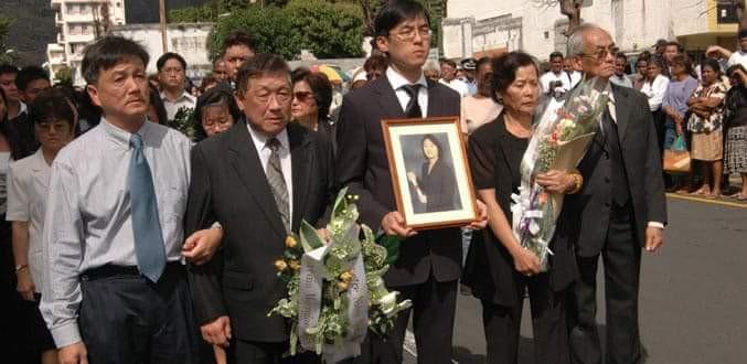 Photo archive. Les membres de la famille de Rachel Ng Shum Hing lors des funérailles nationales à Maurice