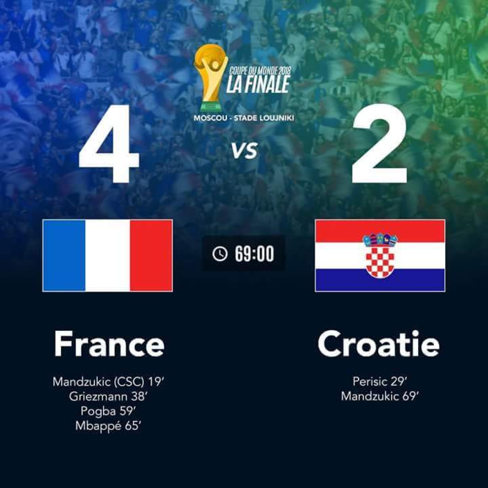 Mondial 2018 : France 4- Croatie 2 encore quelques minutes avant le coup du sifflet final