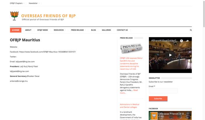 La copie d'écran du site des oversaeas friends of BJP