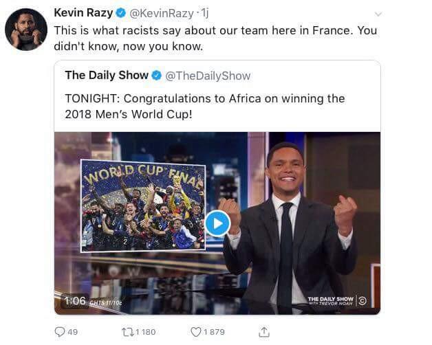L'humoriste Kevin Razy fait taire la polémique sur l'Equipe de France via Twitter