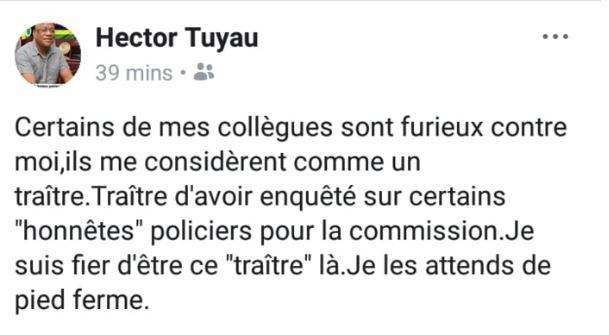 Commission d'enquête sur la drogue : l'ASP Tuyau se dit fier d'être un «traître »