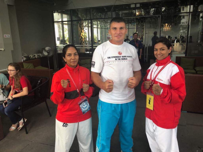 Ilya Yakovlev (Bronze Medallist at the World Cup 2017 in Kazakhstan) with Nabiihah Sattar & Farzanah Aumeer