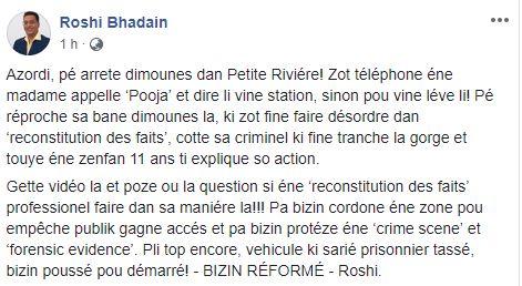 Meurtre à Petite-Rivière: Roshi Badhain s'en prend à la police