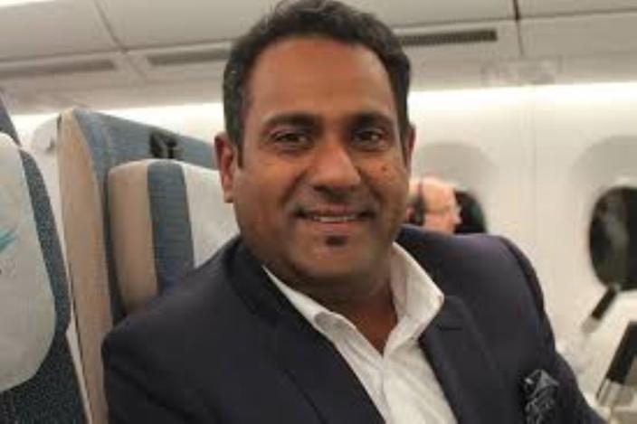 Le CEO de Air Mauritius Somas Appavou lors du vol inaugural du deuxième A350-990