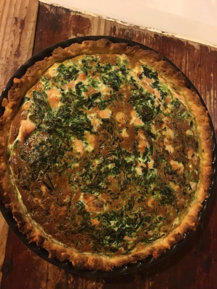 La recette de Oummé : La tarte au Saumon fumé  et Epinard