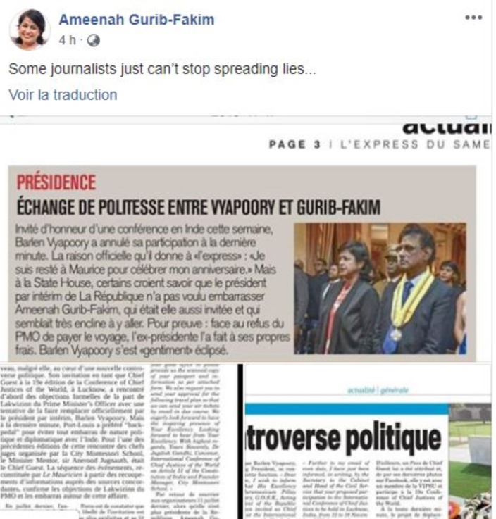 """Ameenah Gurib-Fakim : """"Some journalists just can't stop spreading lies..."""""""