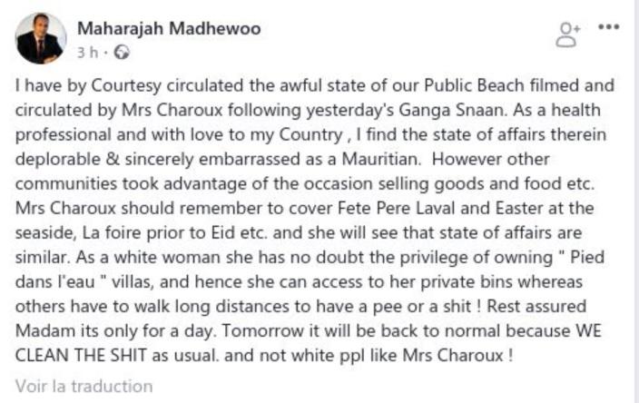 Vidéo plage de Belle Mare : Le dérapage raciste du Dr. Maharajah Madhewoo