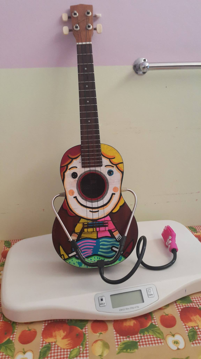 In the photo Terry the Ukelele modeling his  Stethoscope