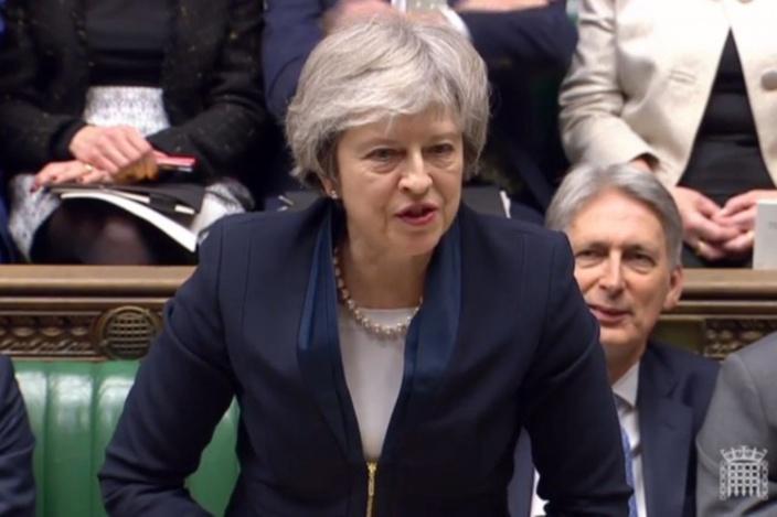Theresa May au Parlement britannique à Londres le 15 janvier 2019.