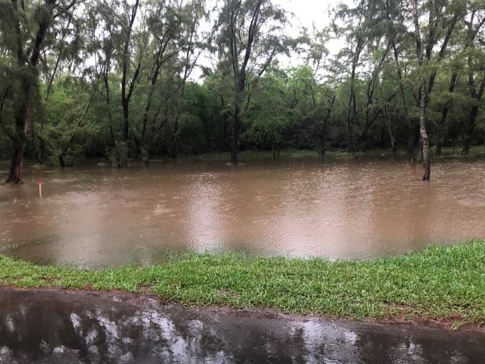 Le futur Bypass à Anse-la-Raie lors des fortes pluies...