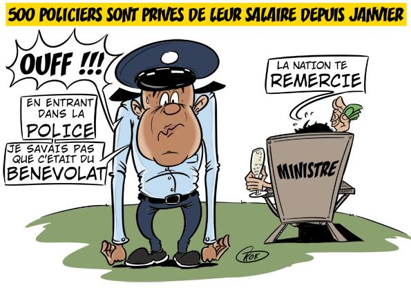 L'actualité vu par KOK : Certains policiers privés de leur salaire depuis janvier