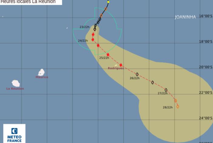 La forte tempête tropicale JOANINHA est à environ 370 km au Nord-Nord-Ouest de Rodrigues