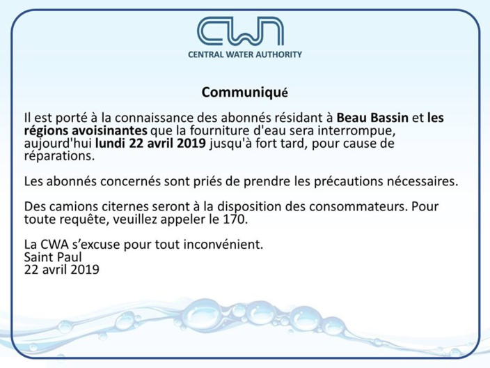 CWA : Coupure d'eau à Beau-Bassin ce lundi soir