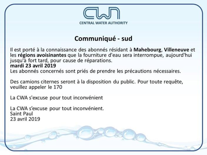 CWA : Coupure d'eau dans différentes régions de l'île