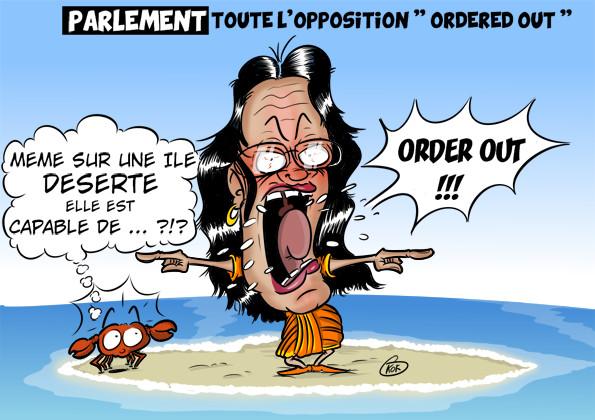 [KOK] Le dessin du jour : L'opposition «ordered out» au Parlement