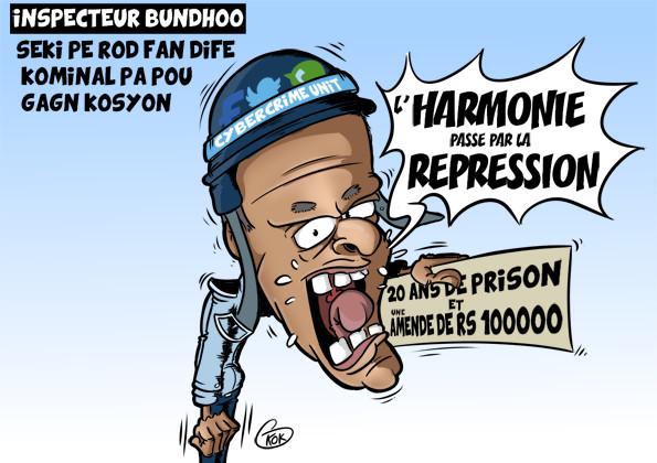 [KOK] Le dessin du jour : Inspecteur Bundhoo : «Seki pe rod fan dife kominal pa pou gagn kosyon»