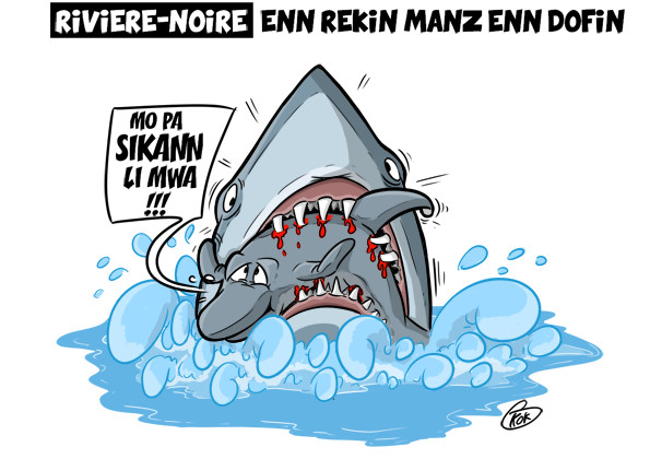 [KOK] Le dessin du jour : Enn rekin manz enn dofin