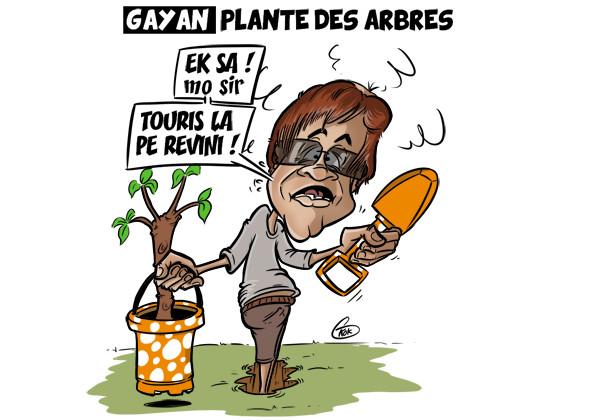 [KOK] Le dessin du jour : Le ministre Gayan plante des arbres