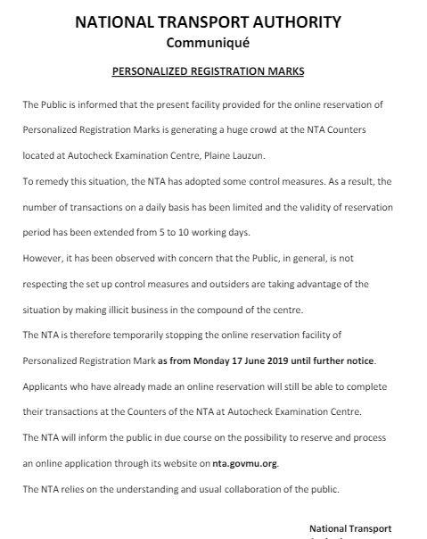 La National Transport Authority (NTA) suspend la réservation en ligne