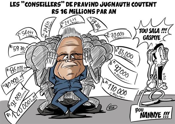 [KOK] Le dessin du jour : Les conseillers de Pravind Jugnauth coûtent Rs 16 millions par an