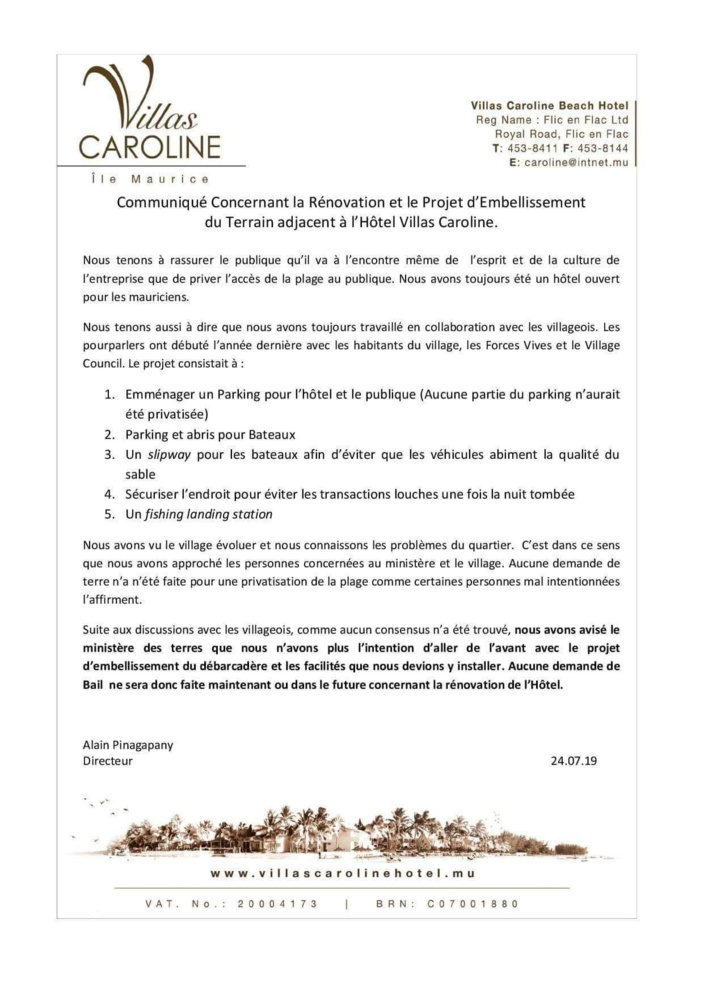Le projet d'extension d'un hôtel à Flic-en-Flac sur la plage publique est annulé