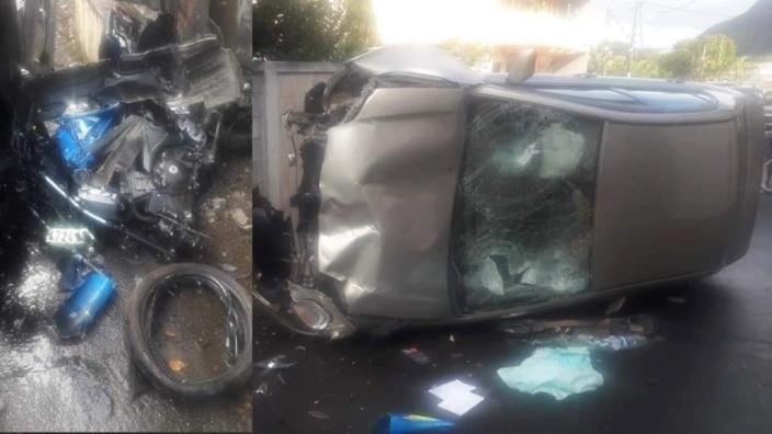 La Source : Un motocycliste gravement blessé, sa moto pulvérisée sous le choc de l'accident