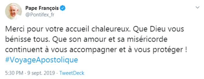 Voyage apostolique : Le pape François remercie les mauriciens sur son compte Twitter