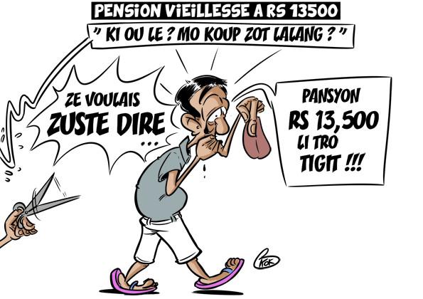 L'actualité vu par KOK : Pension vieillesse à Rs 13 500