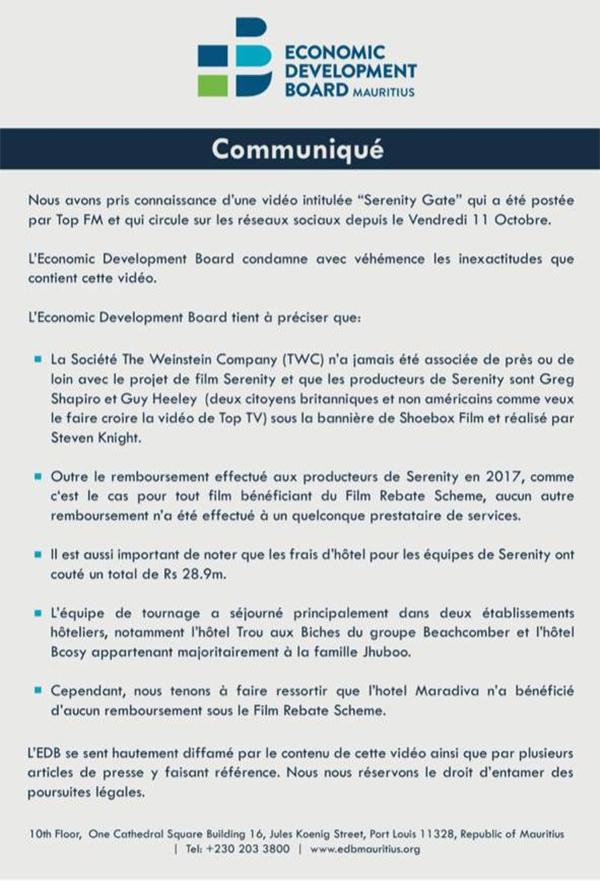 [SerenityGate] Le communiqué de l'Economic Development Board induit 'volontairement' le public en erreur
