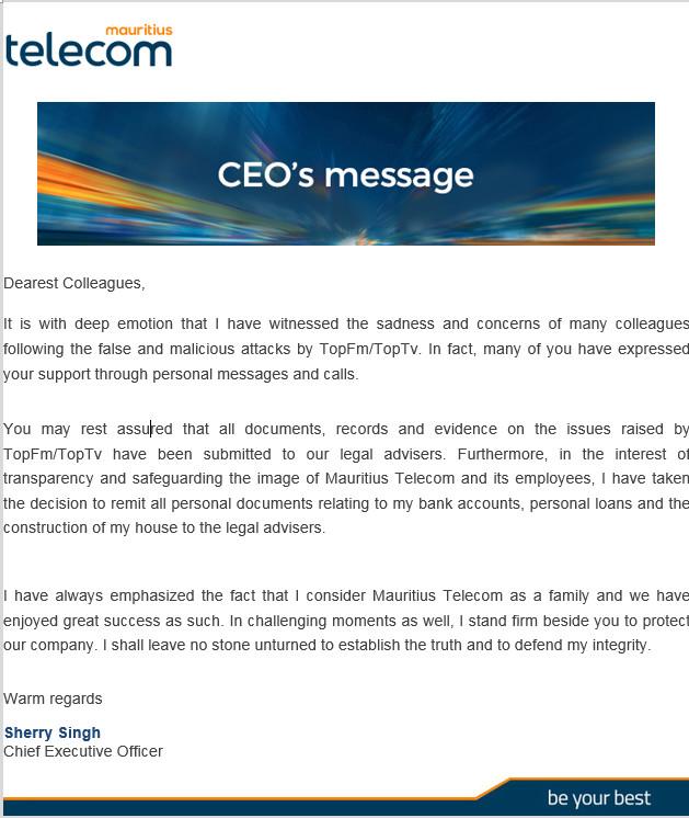 Le CEO de MT, Sherry Singh répond à ses détracteurs