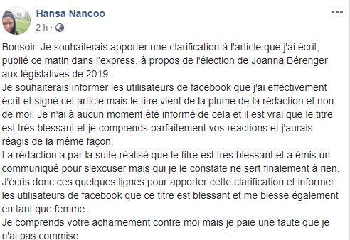 Polémique : la grossesse de Joanna Bérenger, l'express et sa journaliste Ansa Nancoo