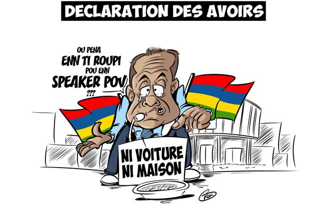 [KOK] Le dessin du jour : Déclaration des avoirs du Speaker de l'Assemblée, Sooroojdev Phokeer