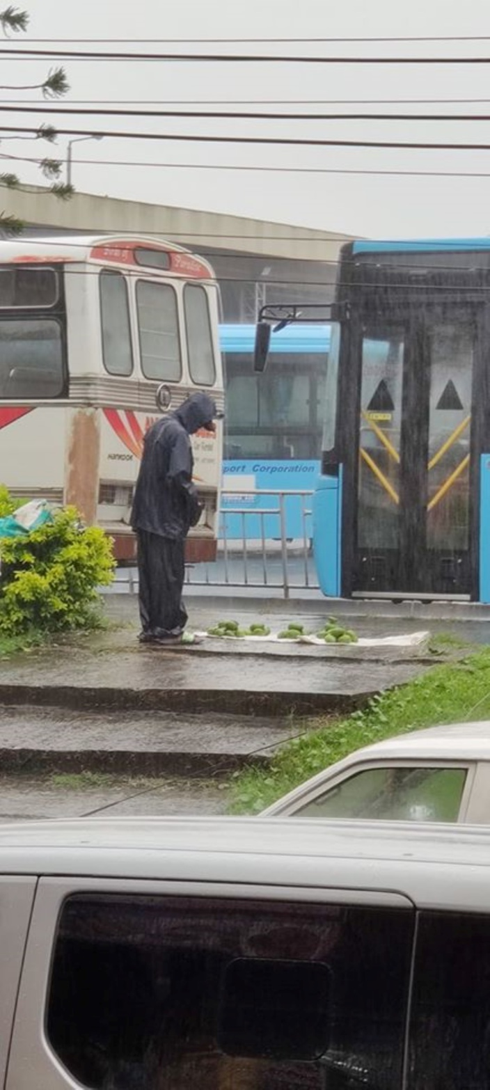 L'image du jour : A St-Pierre, sous la pluie, il vend ses mangues sur le trottoir
