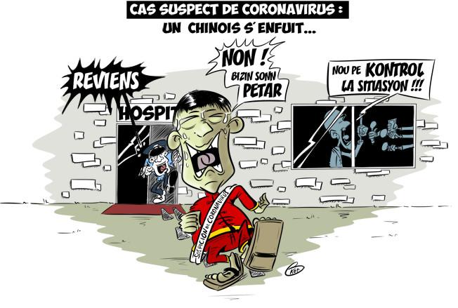 [KOK] Le dessin du jour : Cas suspect de Coronavirus, un chinois s'enfuit