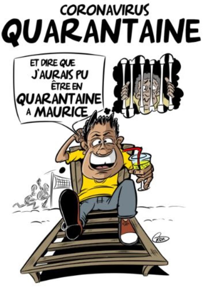 """[KOK] Le dessin du jour : En France, la quarantaine : """"Ça se passe très bien, le moral est au beau fixe, comme le temps"""""""