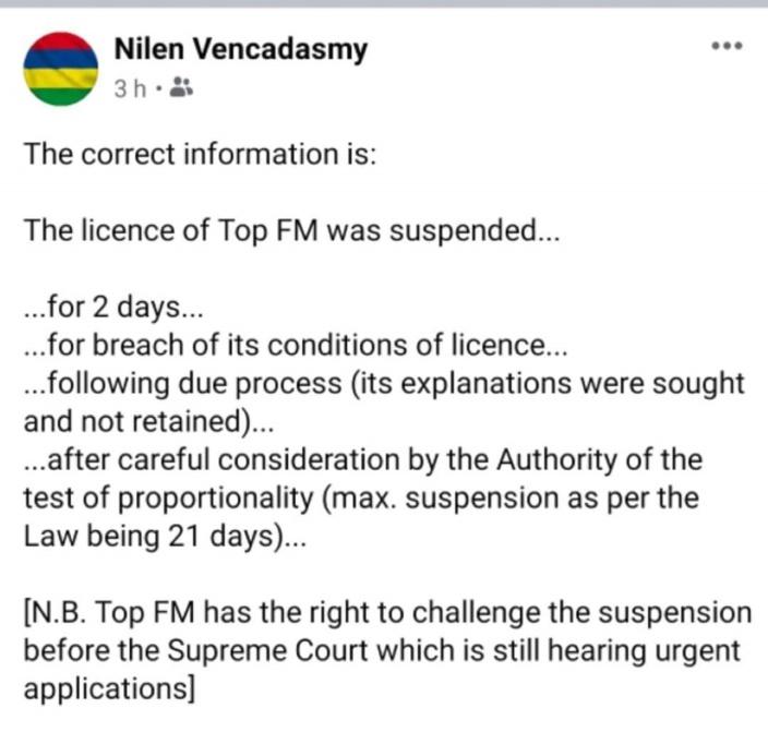 Nilen Vencadasmy publie puis supprime son interprétation de la suspension de Top Fm