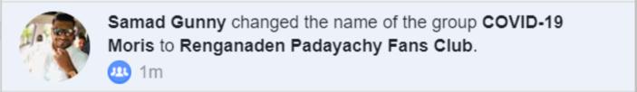 Une page Covid-19 Moris transformée en fan page pour le compte de Renganaden Padayachy