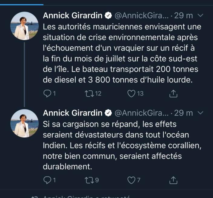 """La ministre de la Mer, Annick Giradin : """"les effets seraient dévastateurs dans tout l'océan Indien"""""""