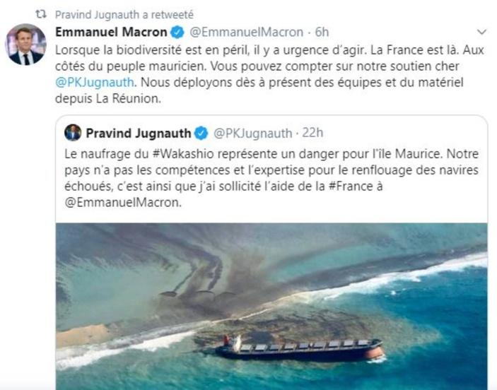 La blague du jour : Le Tweet de Pravind Jugnauth à Macron serait un Fake selon le PMO