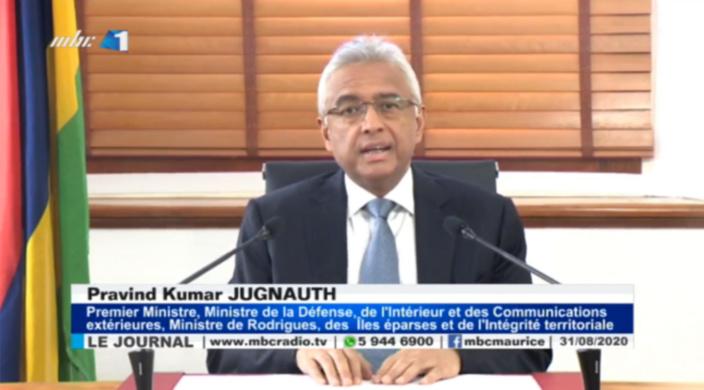 Le Premier ministre mauricien, lors de son allocution télévisée, le 31 août 2020. © MBC-TV