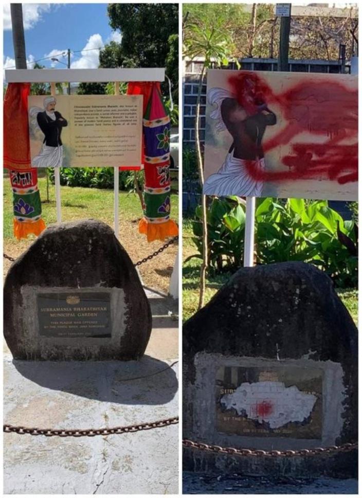 A Plaine Verte, acte de vandalisme dans le jardin Subramania Bharathiyar