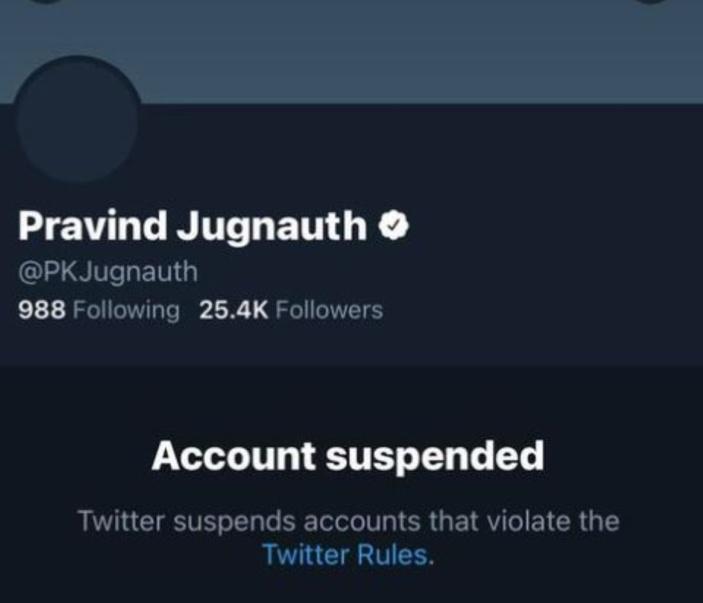 Le compte officiel de Pravind Jugnauth sur Twitter est suspendu