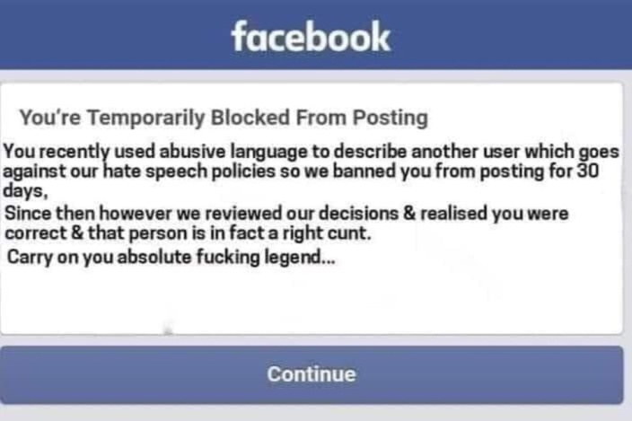 [Paul Lismore] To the precious little bastards who complain to FB that my language 'offends' them...