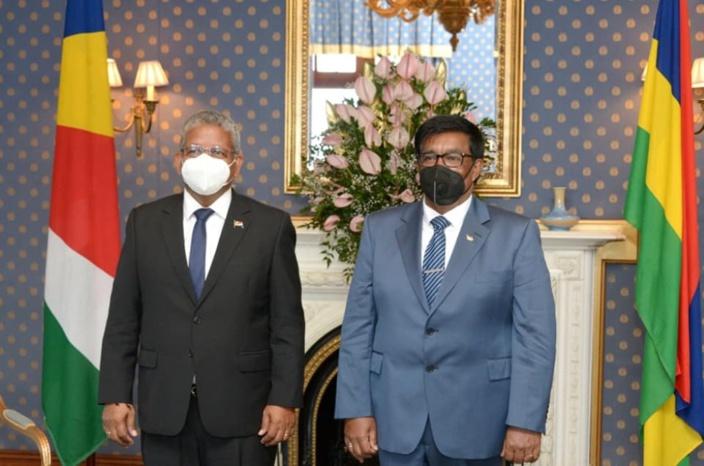 Le président seychellois Ramkalawan 1. Le président mauricien Roopun 0