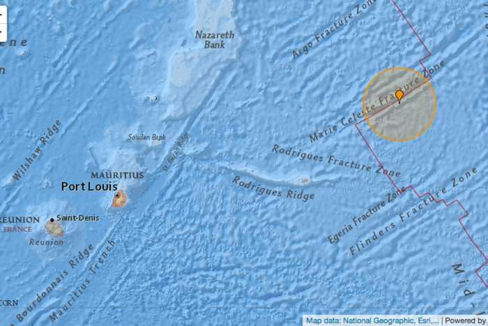 Séisme de magnitude 5.0 enregistré à 300 km de Rodrigues mercredi
