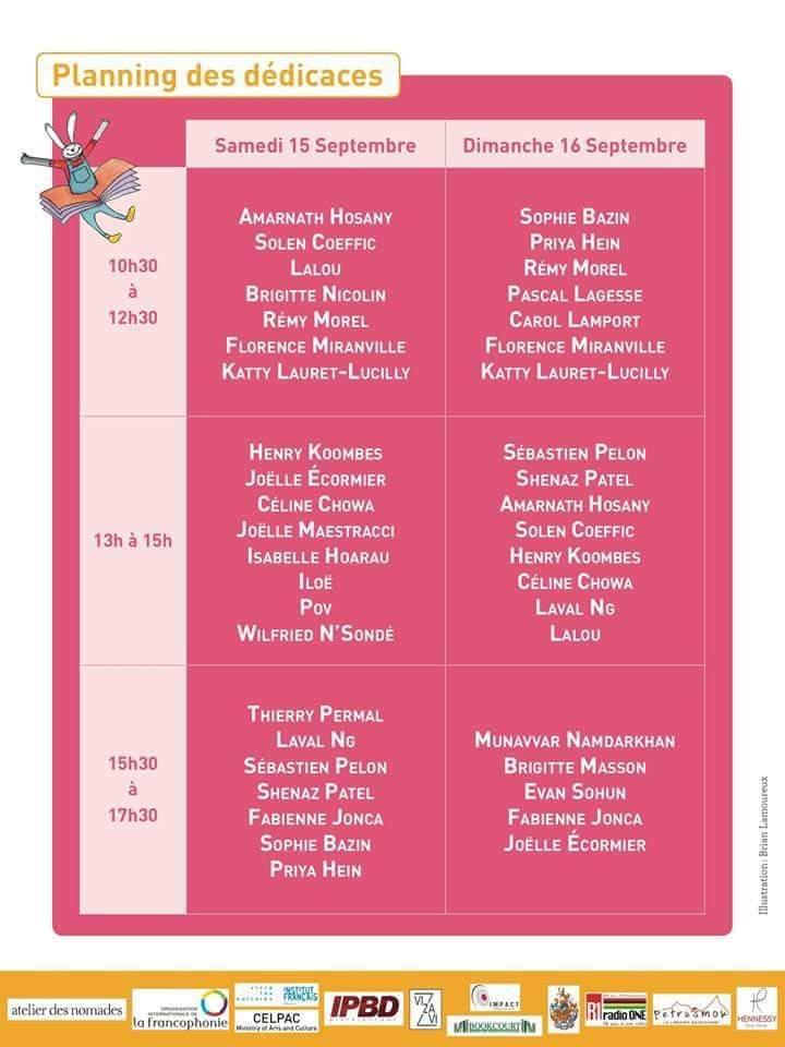 PROGRAMME FESTIVAL DU LIVRE JEUNESSE DE MAURICE 2018