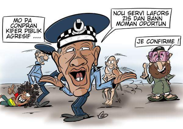 "[KOK] Le dessin du jour : "" Nou Servi La Force Juste Dan Bann Moman Opportun"""