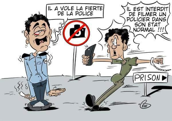 """[KOK] Le dessin du jour : Il est interdit de filmer un policier dans son """"état normal"""""""